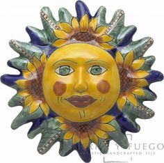 Good visual of a Mexican Talavera Sun to use with sun lessons Tangled Sun, Sun Wall Decor, Ceramic Mask, Mexican Ceramics, Talavera Pottery, Sun Art, Mexican Designs, Stars And Moon, Sun Moon