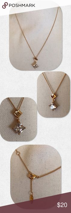 """Gold Plated CZ Necklace Simple but beautiful. Gold plated. 16"""" long. CZ is approximately 1 carat in size. Jewelry Necklaces"""