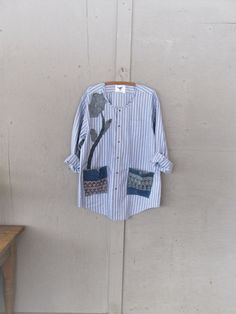 Upcycled shirt Lagenlook tunic spring by lillienoradrygoods