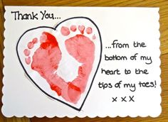"""There's no better way to show your appreciation, than to give a handmade card! Our baby ink pad is perfect! Now you can add an extra personal touch to your next """"thank you"""" note! Bonus: it's safe for baby with very easy cleanup! Thank You Cards From Kids, Print Thank You Cards, Thank You Gifts, Baby Crafts, Fun Crafts, Crafts For Kids, Homemade Cards, Homemade Gifts, Christmas Thank You"""