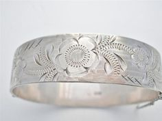 Vintage Sterling Silver Bangle Bracelet Victorian Style Engraved Signed B LTD | eBay