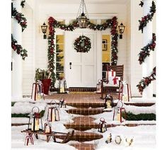 Decorating front porch with lanterns for Christmas