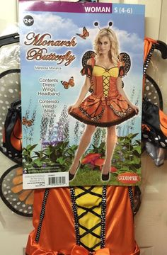 Ladies Costume Fairy Butterfly Size 4-6 Adult Woman Orange Wings Renaissance #Goodmark #CompleteOutfit