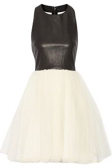 Do you want Aria's party dress? This Alice Olivia Gennifer leather and tulle dress is amazing! | Pretty Little Liars