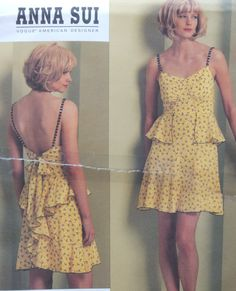 Cute Close Fitting Dress Sewing Pattern Gathered Bodice/Anna Sui Vogue 1105/Misses Size 4-6-8-10/Cocktail Sexy Short Skirt Ruffle Back/Uncut by RedWickerBasket on Etsy