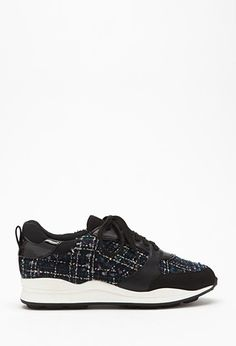 Tweed Faux Leather-Trimmed Sneakers | Forever 21 - 2000183766