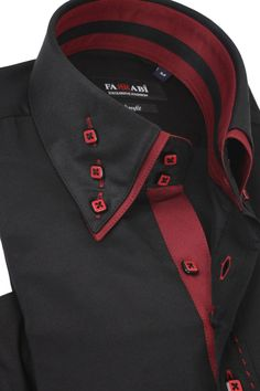 Mens Double Collar Black Dress Shirt | Farrabi Slim Fit | Exclusive Luxury Shirts