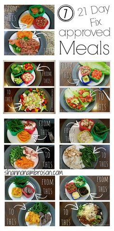 7 #21dayfix approved meals When you get a system down this way of meal planning is actually really quick and easy! Find Coach Shannon at fb.com/shannonambrosonCOACH to let her know you want more recipes and meal photos shared!