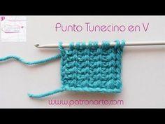 Punto tunecino en V – crochet tunecino en V   Manualidades