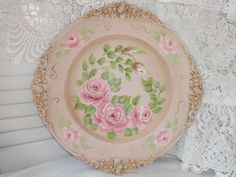 AGED VINTAGE PINK ROSE TRAY ...very chic!  Available on ebay...artist d.sommers