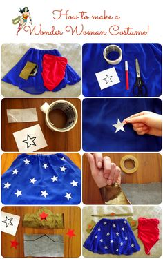 The Sparkling Cinnamon: How to make a Wonder Woman Costume: DRESS + MAKE UP