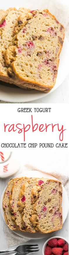 Healthy Greek Yogurt Raspberry Chocolate Chip Pound Cake -- an easy recipe with just 148 calories + NO sugar! Secretly healthy enough for breakfast!
