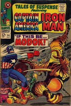 """October, 1967 Iron Man - """"The Tragedy and the Triumph!"""" Stan Lee (script) Gene Colan (art) Captain America - """"If This Be."""" Stan Lee (script) Jack Kirby (art) Cover by Jack Kirby Marvel Comics Superheroes, Marvel Comic Books, Comic Books Art, Dc Comics, Marvel Vs, Comic Art, Marvel Characters, Captain America Comic Books, Iron Man Captain America"""