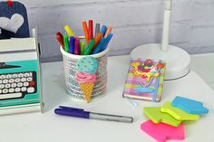 Porta Canetas e caderneta de sorvete
