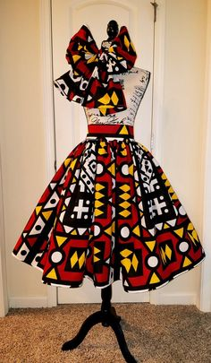 african fashion dresses short high waist High Waisted African Print Ankara Midi Skirt with BowTie/ Head Wrap African Fashion Skirts, African Fashion Designers, African Print Fashion, Africa Fashion, African Print Skirt, African Print Dresses, African Fabric, African Dress, African Attire