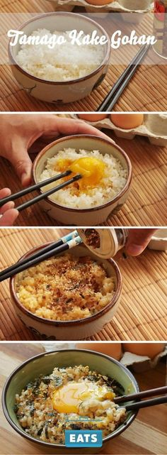 """Kake Gohan (Japanese-Style Rice With Egg) Tamago gohan (literally """"egg rice"""")—rice mixed with a raw egg—is Japanese comfort food at its simplest.Tamago gohan (literally """"egg rice"""")—rice mixed with a raw egg—is Japanese comfort food at its simplest. Egg Recipes, Asian Recipes, Cooking Recipes, Healthy Recipes, Dessert Recipes, Healthy Food, Diet Recipes, Cooking Kale, Healthy Brunch"""