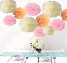 Saitec  18PCS Mixed Sizes Peach Ivory Pink Tissue Pompoms Paper Flower Pom Poms Wedding Birthday Party Christmas Girls Room Decoration *** For more information, visit image link.Note:It is affiliate link to Amazon. #liker