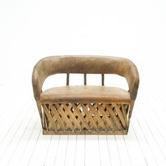 Mexican Equipale Loveseat | Bohemian Leather Couch | Wood Frame Pigskin Leather Loveseat | via Birch & Brass Vintage Rentals for Weddings and Special Events | Austin, TX