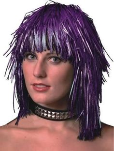 Purple Tinsel Wig. Costume Wigs, Womens Wigs, Suzy, Human Hair Wigs, Wig Hairstyles, Dreadlocks, Purple, Hair Styles, Prints