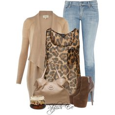 """Leopard, Beige / Nude, Brown, Light Blue Jeans Outfit """"Alaa."""" by stylisheve on Polyvore"""