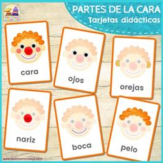 Fun flashcards cards to help teach your little ones reading and writing skills or for parts of the face vocabulary games! There are six cards in this set. Vocabulary Flash Cards, Vocabulary Instruction, Vocabulary Games, Spanish Vocabulary, Spelling Activities, English Activities, Baby Activities, Body Parts In Spanish, Kindergarten Vocabulary