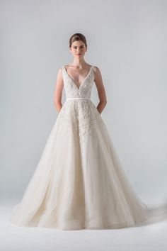 V-Neck A-Line Wedding Dress with Natural Waist in Tulle. Bridal Gown Style Number:33329863