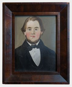"""Lot 89: Oil by William Matthew Prior -Sold - $4,080.00 Estimate: $2,000 – $4,000 19th c. oil on board, portrait of a young man, signed on back """"Wm. M. Prior, Oct 26, 1847″ (American, 1806-1873), blue eyes and brown hair and beard, white shirt and collar with black coat, mahogany veneered frame appears original, sold at Sotheby's auction Oct. 18, 1986, and exhibited at the Morris Museum, NJ Collector Series, April-June 1991, The Fertig Folk Art Collection, 15 1/2″ x 11 3/4″ (sight), 22″ x 18…"""