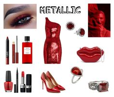 """""""Metallic Lust"""" by rivmisty ❤ liked on Polyvore featuring Yves Saint Laurent, Salvatore Ferragamo, Christian Dior, OPI, NARS Cosmetics, Kevyn Aucoin, Hermès, Givenchy and metallicdress"""