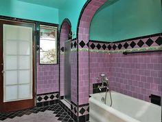Pinkish-lavender and aqua 1930 bath | Flickr - Photo Sharing!