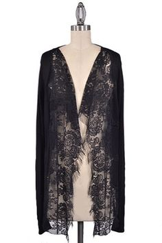 Lady of the Lace Cardigan - Black - $44.00 | Daily Chic Tops | International Shipping