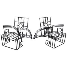 Art Deco Style Iron 'Jazz' Chairs | 1stdibs.com