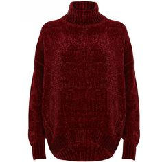 River Island Red chenille knit oversized roll neck sweater (4.380 RUB) ❤ liked on Polyvore featuring tops, sweaters, jumpers, knitwear, red, women, long sleeve jumper, tall sweaters, knitwear sweater and chenille sweater