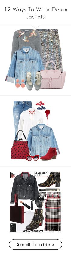 """12 Ways To Wear Denim Jackets"" by polyvore-editorial ❤ liked on Polyvore featuring denimjackets, waystowear, Christopher Kane, RED Valentino, Frame, Alexandra de Curtis, Rebecca de Ravenel, Dolce&Gabbana, Brunello Cucinelli and Moschino"