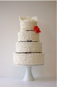 #frilly #wedding #cake with #ribbon