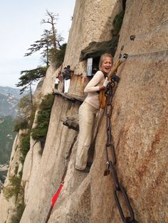 """Hua Shan – at 5 peak mountain with the """"World's most dangerous trail"""".  I'd be peein'."""