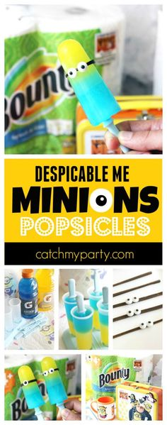 Cool you down this summer, by making these adorable Minions popsicles! Tip: Keep lots of Bounty around for cleanup! (And aren't these Despicable Me paper towels so cute!)   #ad #quickerpickerupper