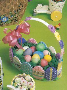 ATisket, a Tasket, an Easter Basket to make using plastic canvas
