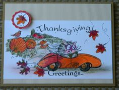 NEW ~ HAPPY THANKSGIVING GREETINGS FLUFFLES Greeting Card by ME Cat blank inside