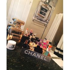 @dayybella creates a chic makeup station with our Parfum Bottle Coin Bank, and Infinite Glam art.