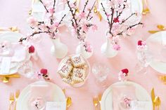 Details and inspiration for a Japenese Cherry Blossom Party Tablescape from centerpieces to cute favors and treats too!