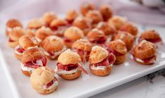 Justine makes the perfect bite sized gougères with proscuitto and chive cream. New Recipes, Cake Recipes, Snack Recipes, Appetizer Recipes, Peach Syrup, Thing 1, Choux Pastry, Savory Snacks, Appetisers