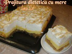 Prajitura dietetica cu mere fara blat – Retete DU-KAN Mamy Vio Healthy Desserts, Healthy Recipes, Beautiful Cakes, Cheesecake, Deserts, Cooking Recipes, Vegetarian, Sweets, Snacks