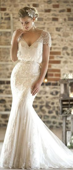 vintage wedding dress with cap sleeves from true bride W225 #wedding #weddingdresses