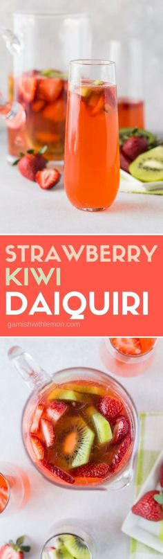 This Strawberry-Kiwi Daiquiri will turn anyone into a fan. This not-too-sweet cocktail uses a handful of ingredients and the strawberry-kiwi infused rum gives it a gorgeous color. This easy to make drink will be your new batch cocktail of summer! #daiquiris #strawberry #rum #cocktails #batchcocktails