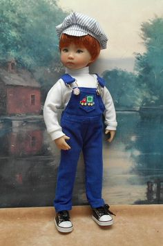 "Three-piece Blue Overalls set to fit 13"" Little Darling boy doll"