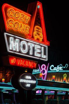 Cozy Cone Motel sign in Carsland - Disney's California Adventure
