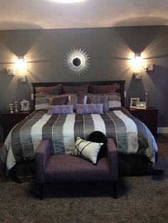 Master bedroom Colour idea. Silver grey wall