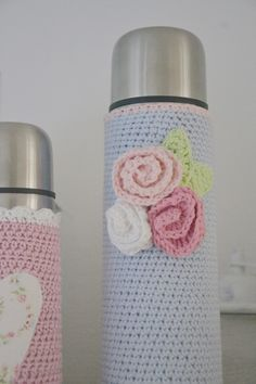 Crochet inspiration @ B.TREE - pretty flask cosies
