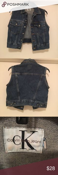 Vintage Calvin Klein Denim Vest Women's Size P !Vintage! Calvin Klein denim vest. Women's size P or small. In excellent condition, see photos. Thank you. Calvin Klein Jackets & Coats Vests