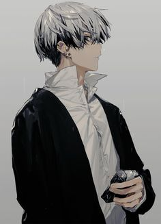 Anime Guy with Silver/White and Black Hair Hot Anime Boy, Black Hair Anime Guy, Boys Anime, Cute Anime Guys, Black Haired Anime Boy, Manga Anime, Manga Boy, Anime Art, Dark Anime